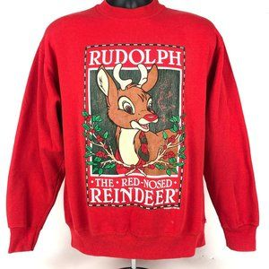 Vtg Christmas Rudolph the Red Nosed Reindeer Sweat